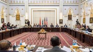 نمایی از گفتگوهای چهارجانبه صلح در کابل