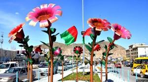 نمایی از جاده دارلامان، تزیین شده با گل های پتانی