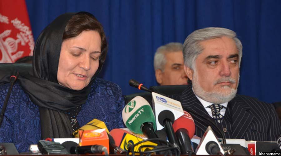 فریده مومند وزیر تحصیلات عالی افغانستان حین اعلام نتایج سراسری کانکور
