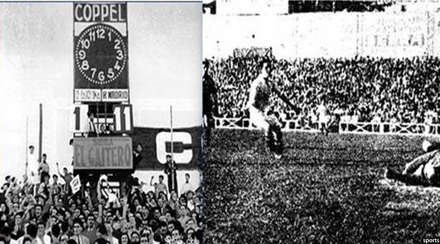 نمایی از نتیجه پایانی بازی آن زمان رئال مادرید در مقابل بارسلونا
