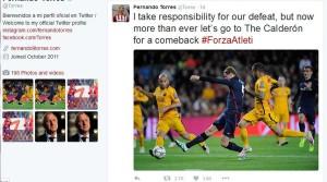 فرناندو تورس پس شکست تیم اش در تویتر خود چنین نوشته است