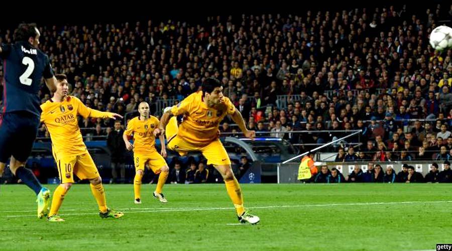 مهاجم بارسلونا حین به ثمر رساندن گل دوم خود