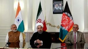 سران افغانستان و ایران به همراه نارندرا مودی نخست وزیر هند، قبل از امضا این قرارداد در ایران