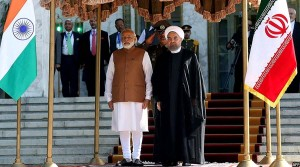 رییس جمهور ایران حین پذیرایی از مودی، نخست وزیر هند در ایران