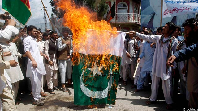 Pakistani flag burnt
