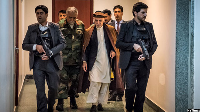 Ghani with guards
