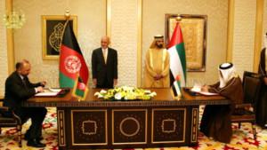 امضای موافقت نامه دوجانبه با امارات متحده عربی در حضور امیر دوبی و رییس جمهور افغانستان