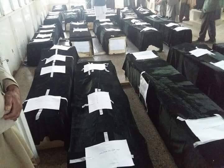 تصویری منتشر شده از اجساد غیر نظامیان که در غور توسط گروهی موسوم به داعش روز گذشته تیرباران شدند