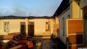 مکتب دخترانهای که در 65 کیلومتری کابل در ولایت لوگر از سوی طالبان به آتش کشیده شدهبود