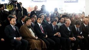 رییس جمهور غنی در حاشیه افتتاح این راه آهن، بند آبیاری اندخوی را نیز افتتاح کرد