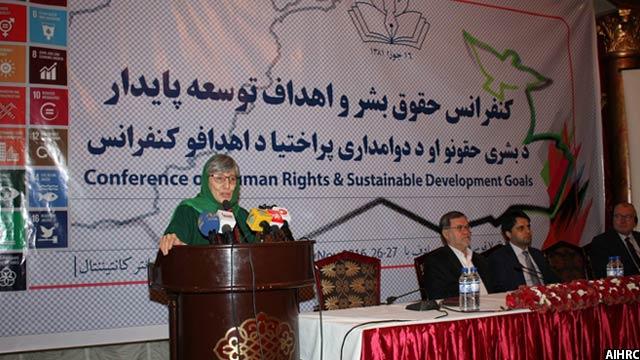 سیما سمر رییس کمیسیون مستقل حقوق بشر افغانستان، گفت که در توسعهی پایدار نباید تبعیض وجود داشته باشد