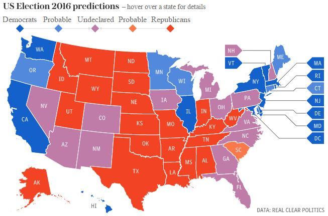 نقشهای پیشتازی این دو کاندید در هر ایالت