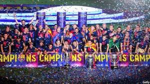 نمایی از قهرمانی بارسلونا با حضور لیونل مسی در لالیگا