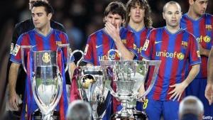 نمایی از سه گانه شدن بارسلونای با حضور فوق ستارهی این تیم