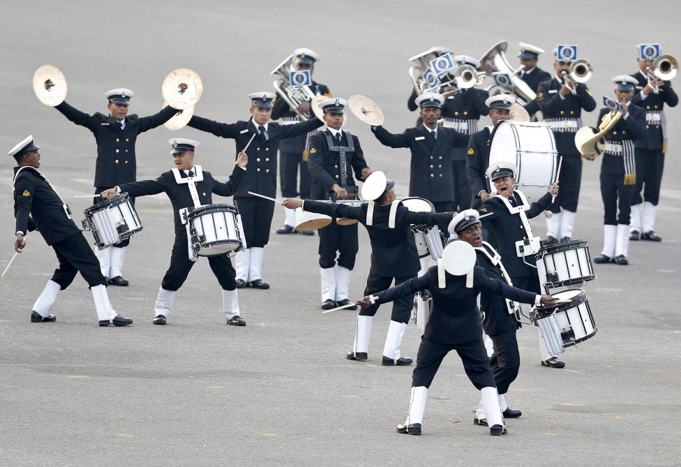 "Members of the Indian military band take part during the full dress rehearsal for the ""Beating the Retreat"" ceremony in New Delhi, January 28, 2016. REUTERS/Altaf Hussain"