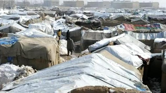 refugees under snow