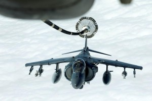 A U.S. Marines Harrier AV-8B makes its way to a fueling boom suspended from a U.S. Air Force KC-10 Extender during mid-air refueling support to Operation Inherent Resolve over Iraq and Syria air space. REUTERS/Hamad I Mohammed