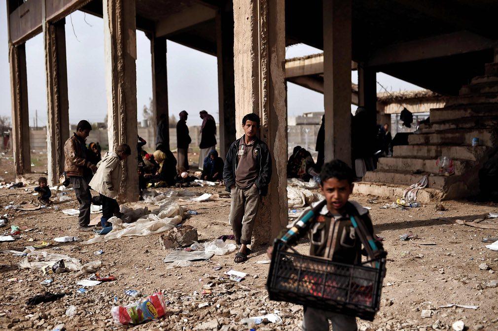 تصویری از بیجاشدگان داخلی در شهر موصل عراق. تصویر از AFP.