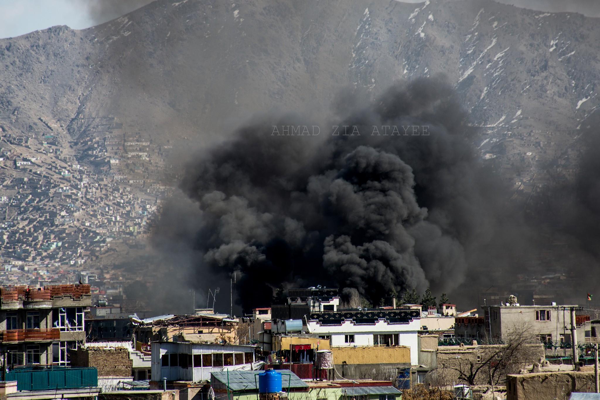 نخستین لحظات انفجار در ساحهی حوزه ششم امنیتی کابل