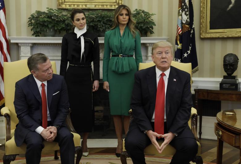 جریان دیدار دونالد ترامپ و بانوی نخست آمریکا با شاه عبدالله، پادشاه اردن و ملکه رانیا در کاخ سفید، واشنگتن / عکس: رویترز