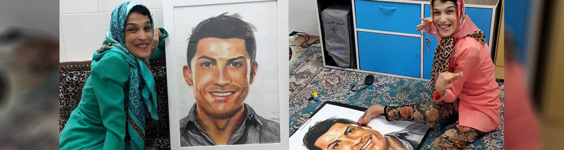 نگاره ای کریستیانو رونالدو با پا؛ فاطمه حمامی، معلول ۸۵ درصدی و اعجوبه رسامی
