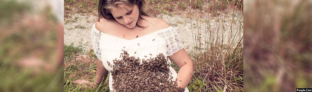 شوق مادرانه؛ عکاسی با ۲۰ هزار زنبور عسل در انتظار تولد فرزند