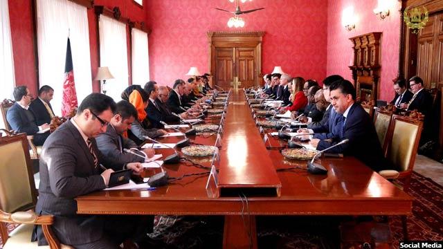 دیدار رییس جمهور اشرف غنی با هیأت شورای امنیت سازمان ملل