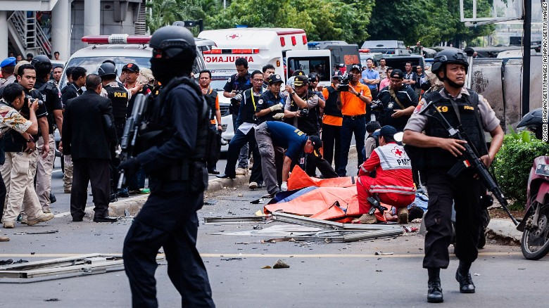 Blast and explosion in jakarta indonesia