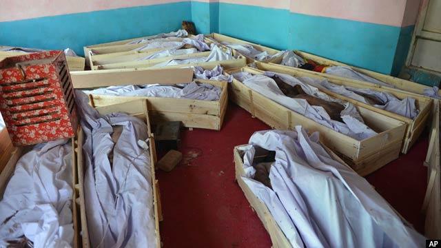 اجساد مردم غیرنظامیان و نیروهای امنیتی در شفاخانه غزنی
