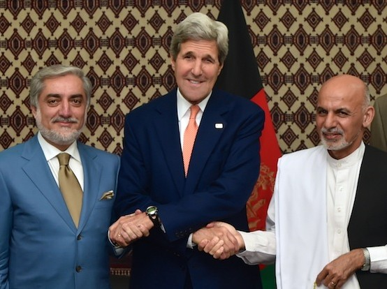 john kerry with ghani & abdullah