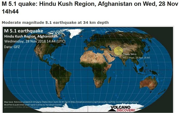 5.1 degree earthquake in Afghanistan
