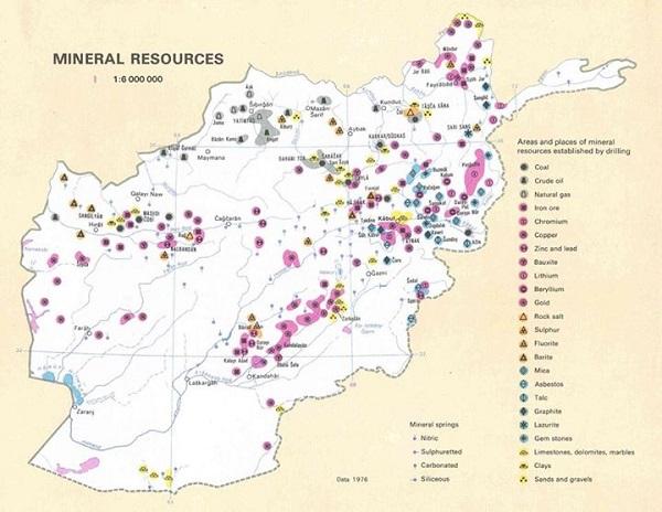 بر اساس تحقیقات انجام شده تا اکنون بیش از 1400 نقطه از معادن زیرزمینی در افغانستان شناسائی شده است که ارزش مجموعی آن به 3000 میلیارد دالر تخمین شده است