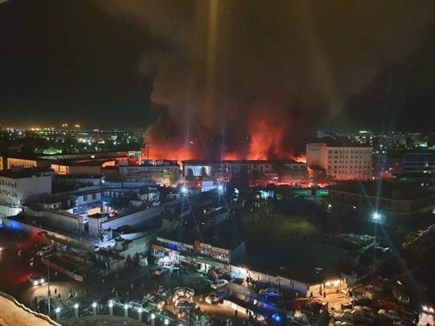 در روز یازدهم عقرب ۱۳۹۷، مارکیت خیرخواه در مرکز شهر کابل طعمه آتش شد