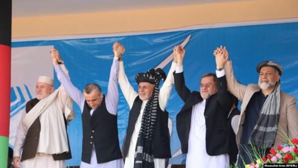 تیم دولت ساز به رهبری اشرف غنی، رئیس جمهور در همایش انتخاباتی در ولایت پکتیا