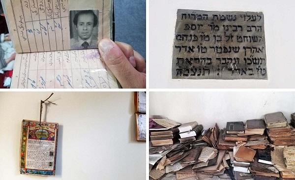 از طرف بالا به سمت چپ: شناسه نظامی سیمنتوف از دوران خدمت وی در دوره رئیس جمهور محمد داود خان. از طرف بالا به سمت راست: یک کتاب مقدس به زبان عبری بر روی دیوار کنیسه. سیمنتوف به عنوان یک یهودی، مرتبا تورات را می خواند اما قادر به صحبت کردن به زبان عبری نیست. از طرف پایین به سمت چپ: تقویم یهودی است که سیمنتوف برای ساختن زندگی دینی خود استفاده می کند. از طرف پایین به سمت راست: قفسه ای از متون مذهبی است که در کنیسه ذخیره شده اند.