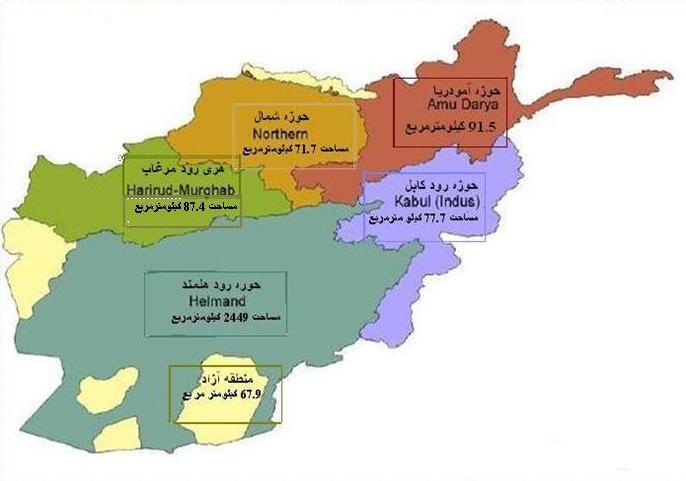 افغانستان داری پنج حوزه آبی است؛ این پنج حوزه، شامل حوزه آبی پنج آمو، حوزه آبی شمال، حوزه آبی کابل، حوزه آبی هریرود و حوزه آبی هلمند می شود که از این جمله، دو حوزه آن، هلمند و هریرود، در غرب افغانستان جریان دارد و آبریز آن در خاک ایران است