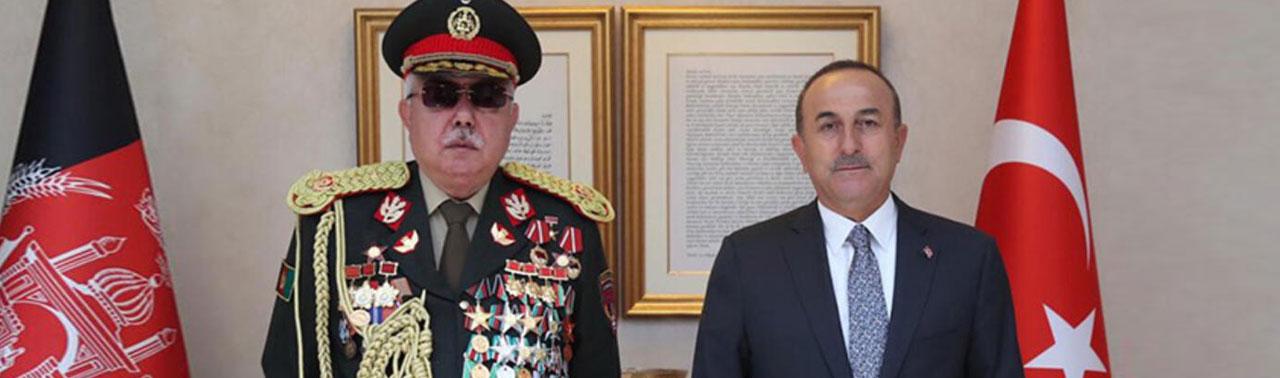 وزیر امور خارجه ترکیه در دیدار با مارشال دوستم برای میزبانی از روند صلح افغانستان ابراز آمادگی کرد
