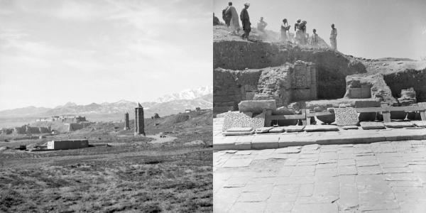 مناره ها در غزنی٬ افغانستان و کاخ مسعود سوم قرن دوازدهم که حوالی سال ۱۹۶۰ حفاری شد. جوزفین پاول٬ مجموعه های ویژه٬کتابخانه هنرهای زیبا٬ دانشگاه هاروارد
