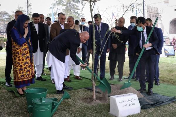 آقای غنی ماه گذشته در مراسمی به مناسبت سال نوی پارسی در کاخ ریاست جمهوری در کابل در حال کاشت درخت است. هدایت الله عمید