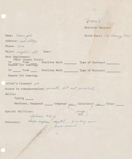 درخواست کار دست نویس بنیانگذار اپل، استیو جابز، که در سال 1973 ارسال کرده بود بار دیگر به حراج گذاشته شد.