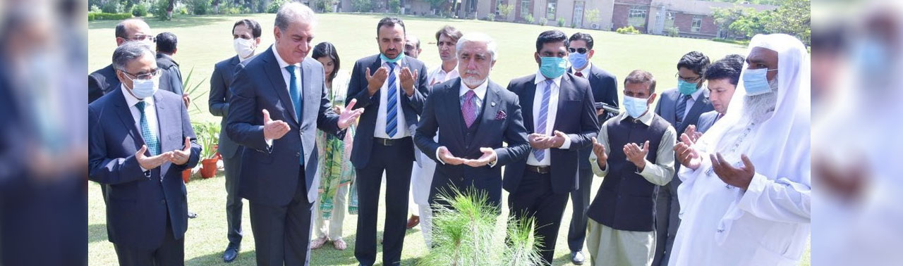 سفر رییس شورای مصالحه ملی به پاکستان؛ عبدالله در صحن وزارت خارجه پاکستان نهال یادگاری شاند