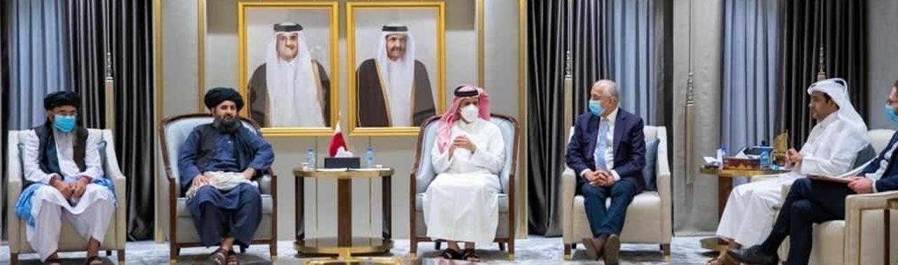 نشست سه جانبه؛ خلیلزاد، وزیر خارجه قطر و هیئت طالبان گفتگو کردند